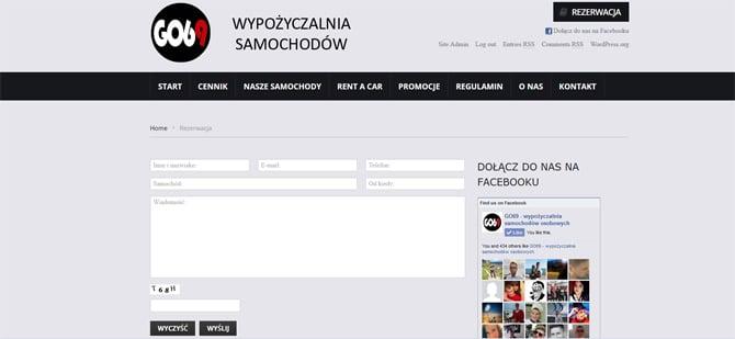 Strona na WordPress dla wypożyczalni samochodów