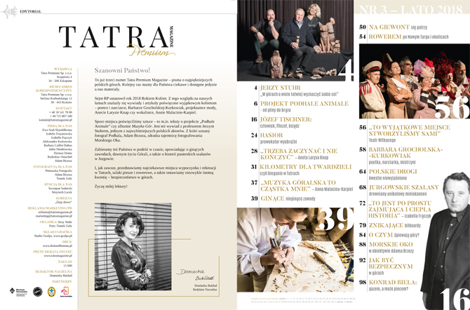 Skład półrocznika Tatra Magazine Premium